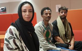 (from left) Nada Tawfeek, Guled Mire and Bariz Shah at the mental health hui for young Muslim people on Saturday.