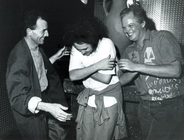 Chris Parry (L), Robert Smith, and Howard Thompson from A&R Records