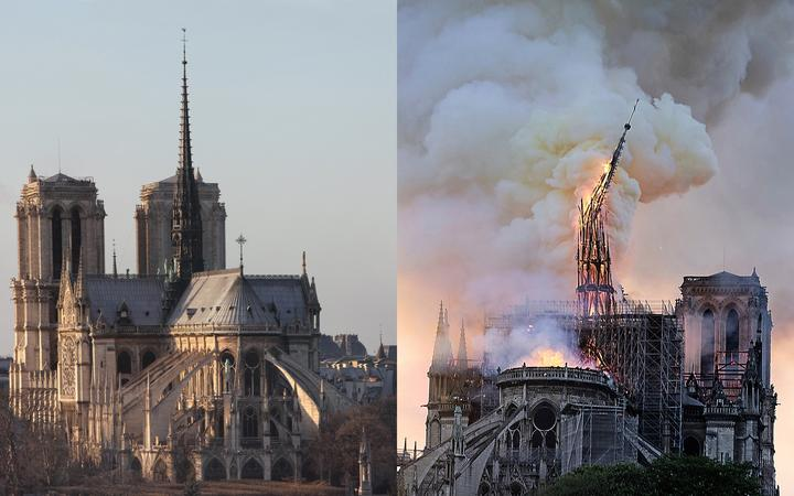 Notre Dame spire before and after