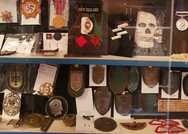 SS and Swastika symbols at the shop.