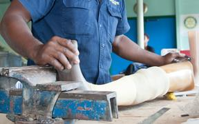 Prosthetic limbs being manufactured in the Port Moresby General Hospital compound