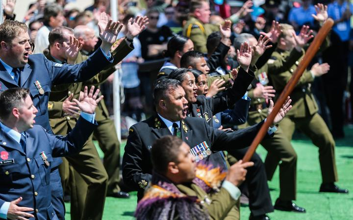 New Zealand Defence Forces' units perform the haka after the ceremony at New Zealand Memorial at Chunuk Bair, Gallipoli in Turkey on April 25, 2018.