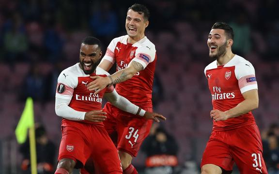 Arsenal's Alexandre Lacazette celebrates after scoring.