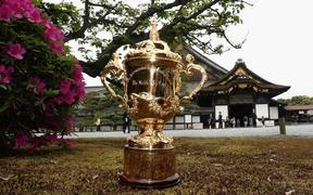KYOTO, JAPAN - MAY 09:  The Webb Ellis Cup stands at Nijo Castle on the eve of the Rugby World Cup Japan 2019 Pool Draw, on May 9, 2017 in Kyoto, Japan. The Rugby World Cup Japan 2019 draw takes place on May 10, in Kyoto, Japan.  (Photo by Dave Rogers - World Rugby/World Rugby via Getty Images)