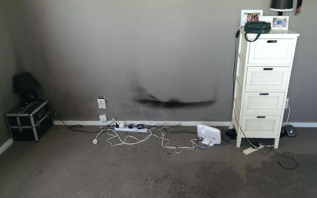 Smoke damage at Josh Roa's house Ariki Place, Pakakura.