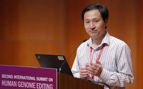 He Jiankui speaks during the Human Genome Editing Conference in Hong Kong. Jiankui carried out controversial gene editing of embryos