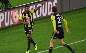 Roy Krishna (L) with of the Phoenix celebrates his goal with team mate Max Burgess during the A-League Phoenix vs Melbourne City football match at the Westpac Stadium in Wellington on Sunday the 21st of April 2019. Copyright Photo by Marty Melville / www.Photosport.nz