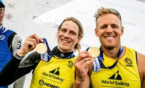 Paul Snow-Hansen and Dan Willcox after winning gold at the World Cup Series regatta in Genoa.