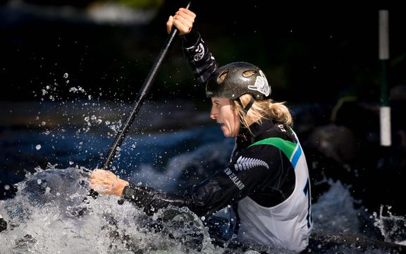 Luuka Jones on her way to victory in the women's K1 final at the 2019 New Zealand canoe slalom championships in Kawerau.