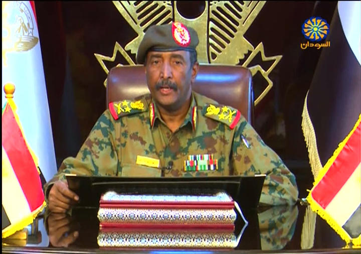 A grab from a broadcast on Sudan TV on April 13, 2019 shows Lieutenant General Abdel Fattah al-Burhan Abdulrahman, new chief of Sudan's ruling military council, in the capital Khartoum.