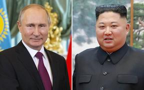 Russian President Vladimir Putin and North Korea's leader Kim Jong Un