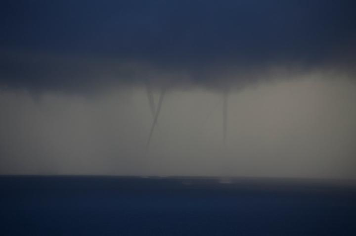Waterspouts formed near Waiheke Island before moving into the Firth of Thames.