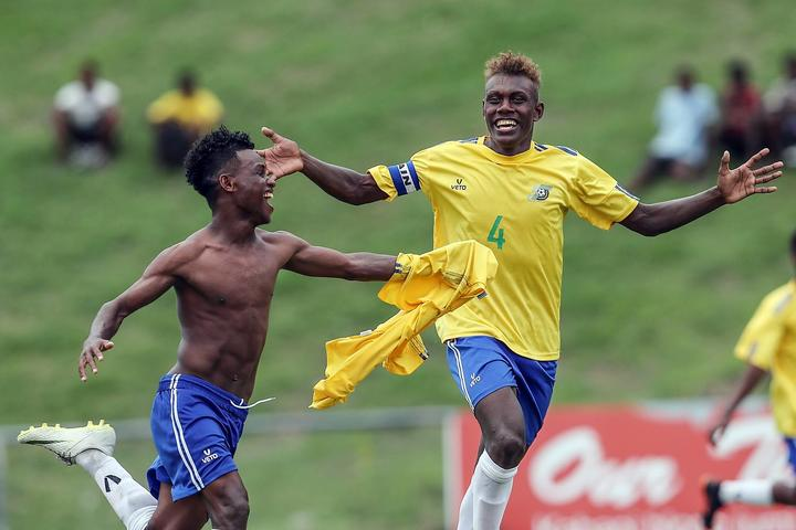Leon Kofana (4) captained Solomon Islands at the OFC Under 16 Championship.