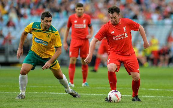 Robbie Fowler on the ball for the Liverpool Legends against the Australian Legends in 2016.