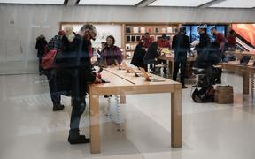 An Apple Store stands in lower Manhattan on January 03, 2019 in New York City. As a decline in Apple product sales in China continues to depress global markets, the Dow Jones Industrial average fell over 200 points in morning trading.