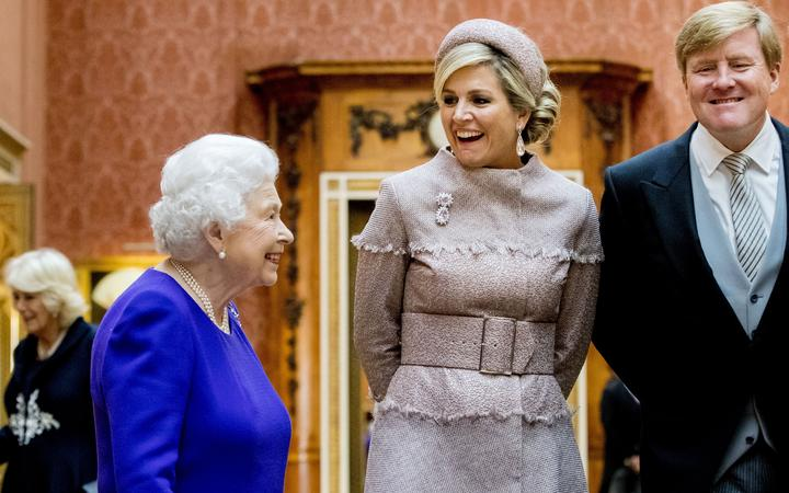 Queen Elizabeth II with Queen Maxima and King Willem-Alexander of The Netherlands in Buckingham Palace in 2018
