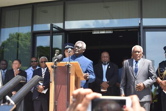 Manasseh Sogavare speaks on the steps of Solomon Islands National Parliament shortly after winning the prime ministerial election. 24 April 2019