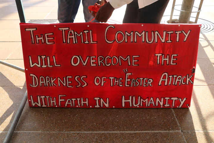 Auckland's Tamil community vigil for Easter Sunday Sri Lankan bombing victims, at Aotea Square, 24 April, 2019.