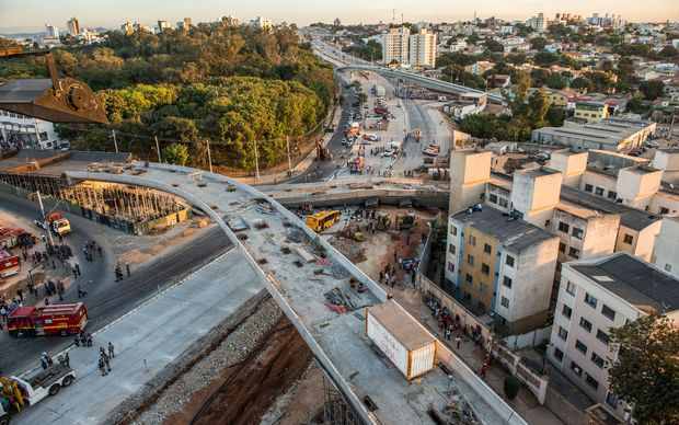 The overpass for a network of bus lanes in Belo Horizonte had not been finished in time for the World Cup.