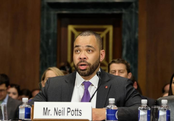 WASHINGTON, DC - APRIL 10: Neil Potts, public policy director for Facebook, speaks at a Senate Judiciary Committee hearing on April 10, 2019 in Washington, DC.