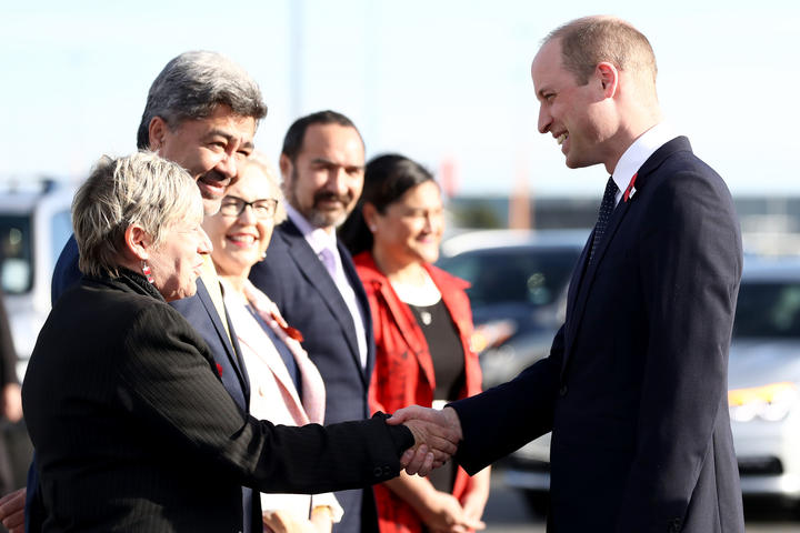 Prince William, Duke of Cambridge talks with Her Worship the Honourable Lianne Dalziel, Mayor of Christchurch after arriving at the RNZAF Air Movements Terminal on April 25, 2019 in Christchurch, New Zealand.