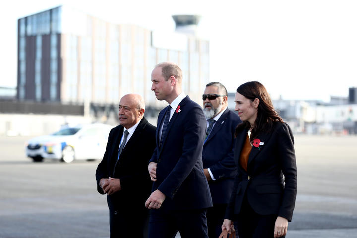 Prince William, Duke of Cambridge arrives with New Zealand Prime Minister Jacinda Ardern at the RNZAF Air Movements Terminal on April 25, 2019 in Christchurch, New Zealand.