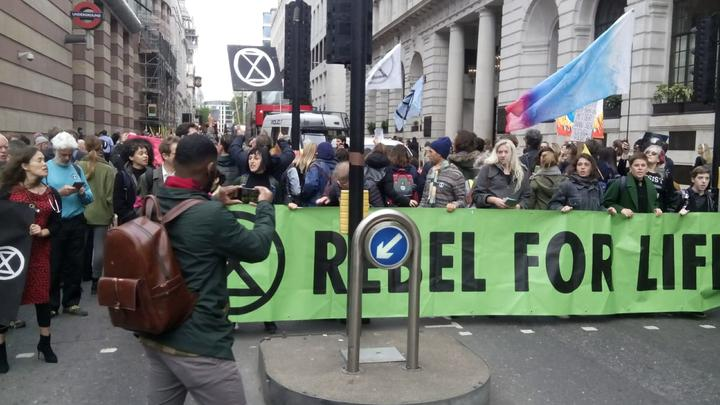 An Extinction Rebellion road block in London, on 25 April, 2019.