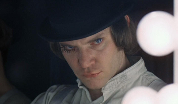 The character Alex (played by Malcolm McDowell) in the film Clockwork Orange.