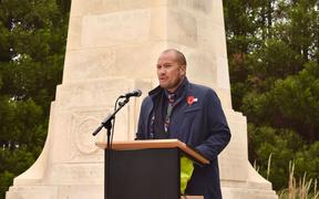 Waiariki MP Tamati Coffey speaking at the New Zealand Messines Ridge Memorial ceremony