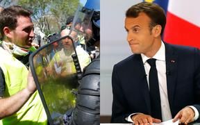 Yellow vests protester and French President Emmanuel Macron