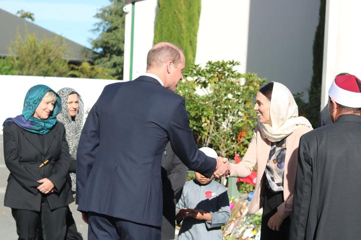 Prince William visiting Al Noor Mosque.