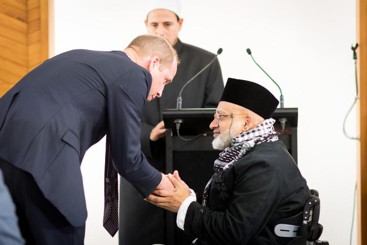 The Duke of Cambridge meets Farid Ahmad, who lost his wife in the Christchurch mosques terrorist attack.