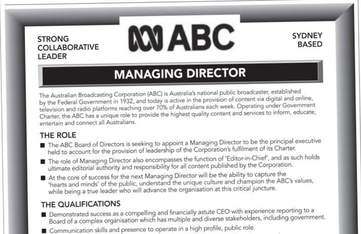 Situation vacant: months after a scandal saw off its two top execs, Australia's public broadcaster the ABC is still looking for a leader.