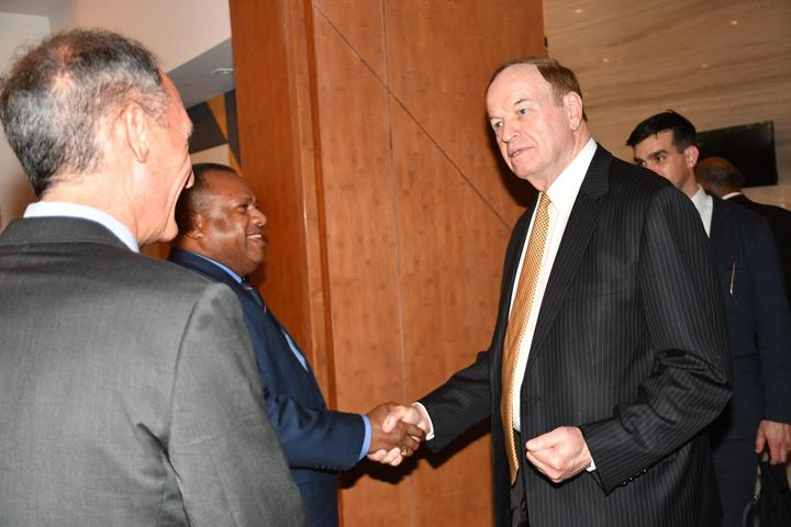 US Senator Richard Shelby meets Fijian Defence Minister Inia Seruiratu in Suva on Thursday.