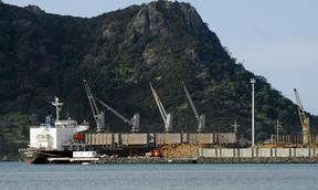 WHANGAREI,NZ - Ship, wood logs and cranes in Northport