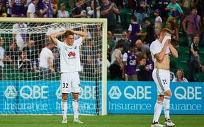 Gianni Stensness of Wellington Phoenix rues the loss on the final whistle during the A-League Match against Perth Glory 2019.