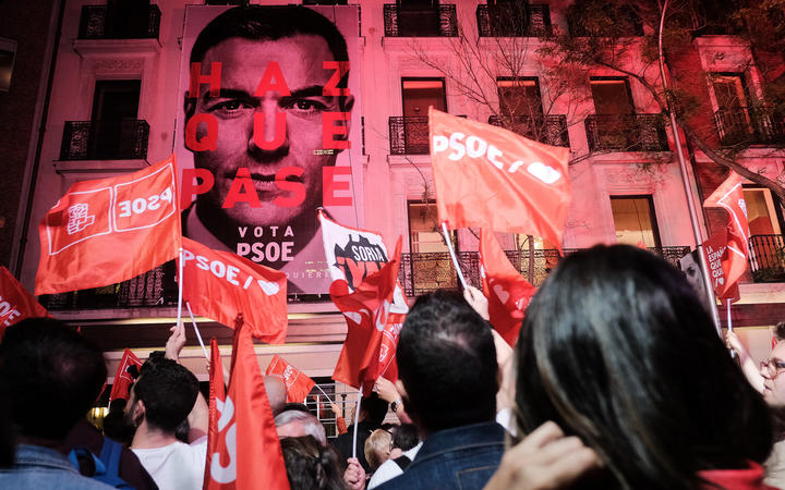 Prime Minister of Spain Pedro Sanchez addresses supporters outside of the Spanish Socialist Workers's Party headquarters.