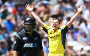 James Faulkner successfully appeals for a wicket in the 2017 World Cup final against New Zealand at the MCG.