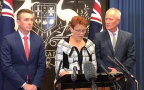 From left, One Nation's party advisor James Ashby, leader Pauline Hanson and Queensland Senate candidate Steve Dickson.