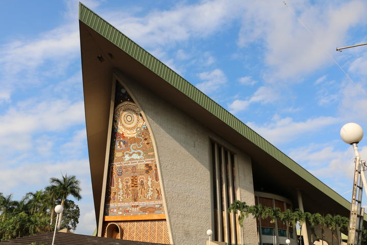 The Papua New Guinea Parliament building in Port Moresby.
