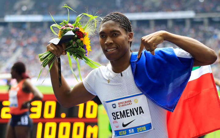 Caster Semenya celebrates after finishing first in Women's 1000m at the ISTAF 2018 athletics meeting at Olympiastadion on September 2, 2018 in Berlin, Germany.