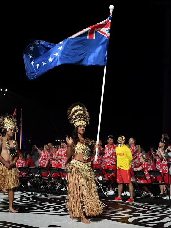 Cook Islands' flagbearer Patricia Taea during the opening ceremony of the 2018 Gold Coast Commonwealth Games.