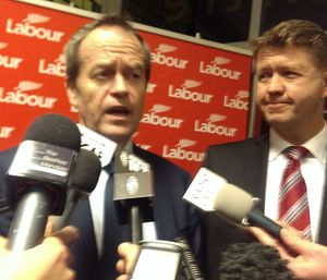 Bill Shorten and David Cunliffe at the conference.
