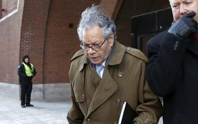 FILE - In this Jan. 30, 2019, file photo, Insys Therapeutics founder John Kapoor leaves federal court in Boston. On Thursday, May 2, 2019, Kapoor was found guilty in a scheme to bribe doctors to boost sales of a highly addictive fentanyl spray