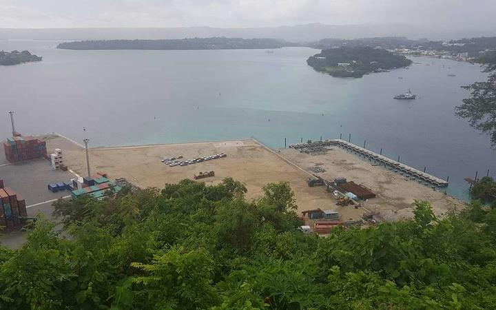 The unfinished inter-island ship wharf on Port Vila Harbour. The Vanuatu opposition wants the New Zealand government to explain why the project it funded is still incomplete.