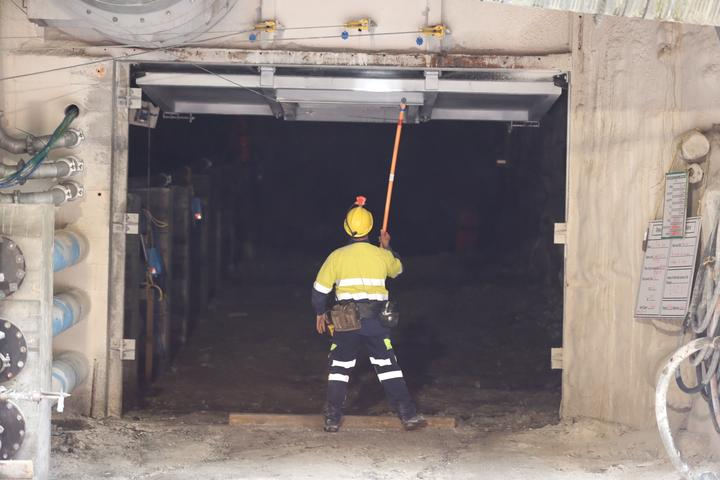 Outside the 30m concrete seal at Pike River mine.