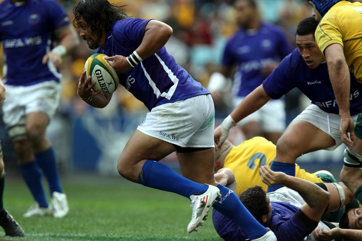 Seilala Mapusua finds space during Manu Samoa's famous win over Australia in 2011.