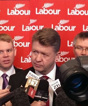 David Cunliffe speaking to the media after his speech.