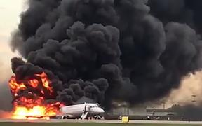 A screengrab of a social media video shows a fire of a Russian-made Superjet-100 at Sheremetyevo airport outside Moscow.