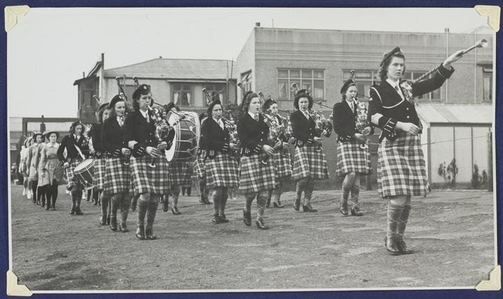 Dunedin Ladies' Scottish Pipe Band performing for the British Sailors' Society Seamen's Mission Appeal c. 1940s.